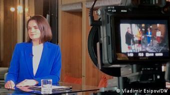 Экс-кандидат на президентских выборах в Беларуси Светлана Тихановская во время визита в Берлин