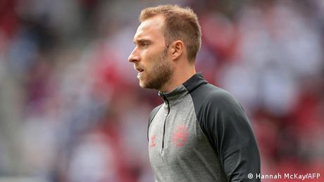 Denmark's midfielder Christian Eriksen warms up before the UEFA EURO 2020 group B football match between Denmark and Finland