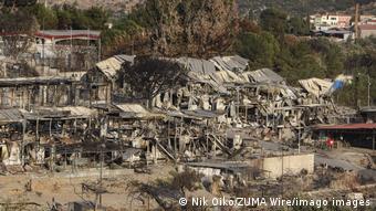 Лагерь для беженцев Мориа в Греции после пожара, сентябрь 2020 года