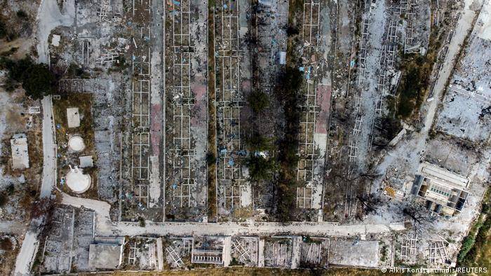 Griechenland   Luftbild zerstörtes Flüchtlingscamp Moria 2021
