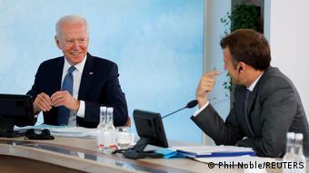 England | G7 Gipfel 2021 | Joe Biden und Emmanuel Macron