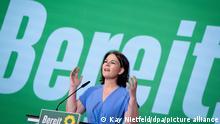 Annalena Baerbock, Kanzlerkandidatin und Bundesvorsitzende von Bündnis 90/Die Grünen, spricht zum Ende der Bundesdelegiertenkonferenz ihrer Partei. Bei dem digitalen Parteitag in Berlin haben die Grünen ihr Wahlprogramm für die Bundestagswahl im September verabschiedet. +++ dpa-Bildfunk +++