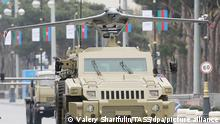 BAKU, AZERBAIJAN - DECEMBER 9, 2020: A military vehicle carries an Orbiter-3 reconnaissance unmanned aerial vehicle manufactured by Israeli company Aeronautics during a rehearsal of a military parade. The parade to mark the end of the military conflict over the disputed Caucasus Mountains territory of Nagorno-Karabakh is scheduled for December 10. Valery Sharifulin/TASS