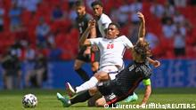 Soccer Football - Euro 2020 - Group D - England v Croatia - Wembley Stadium, London, Britain - June 13, 2021 England's Jude Bellingham in action with Croatia's Luka Modric Pool via REUTERS/Laurence Griffiths