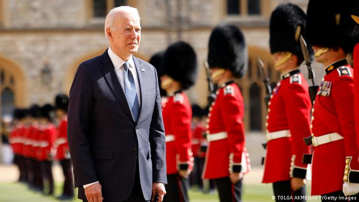 US President Joe Biden inspects the Guard of Honor formed of The Queen's Company First Battalion Grenadier Guards