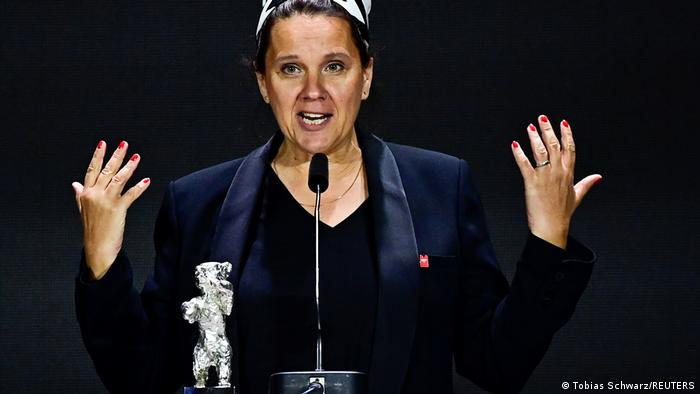 Maria Speth delivers a speech at the Berlinale awarding ceremony as she receives Silver Bear.