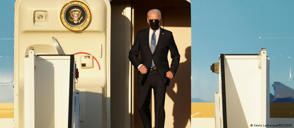US President Joe Biden arrives aboard the Air Force One ahead of a NATO summit