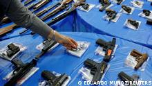 Guns are displayed after a gun buyback event organized by the New York City Police Department (NYPD), in the Queens borough of New York City, U.S., June 12, 2021. REUTERS/Eduardo Munoz TPX IMAGES OF THE DAY