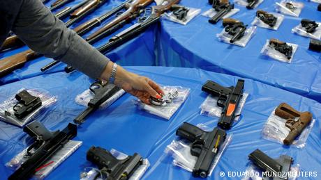 Guns are displayed after a gun buyback event organized by the New York City Police Department (NYPD), in the Queens borough of New York City, U.S., June 12, 2021