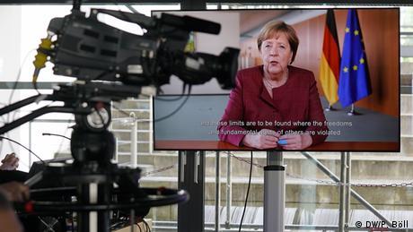 Chancellor Angela Merkel addresses DW's Global Media Forum via video in 2021