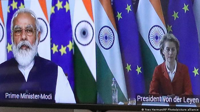 Виртуальный саммит ЕС-Индия: премьер-министр Нарендра Моди и глава Еврокомиссии Урсула фон дер Ляйен