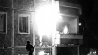 Asylum shelter on fire in Rostock 1992