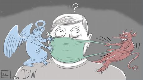 Ангел надевает маску на человека, а демон ее стягивает с лица - карикатура Сергея Елкина