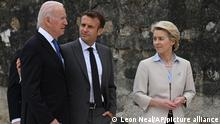 G7 Summit. (left to right) US President Joe Biden, President of France Emmanuel Macron and European Commission Ursula von der Leyen after the leaders official welcome and family photo, during the G7 summit in Cornwall. Picture date: Friday June 11, 2021. See PA story POLITICS G7. Photo credit should read: Leon Neal/PA Wire URN:60304707