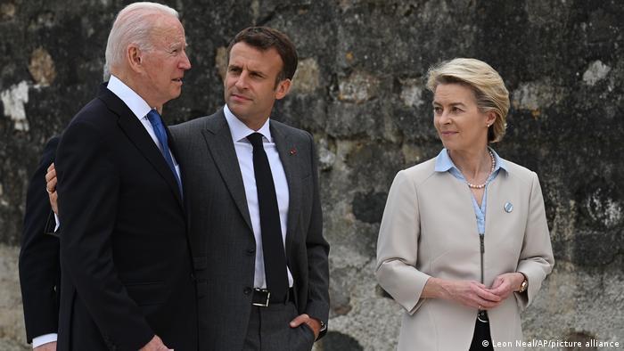 Joe Biden, Emmanuel Macron, Ursula von der Leyen