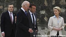 England | G7 Gipfel 2021 | Joe Biden, Emmanuel Macron und Ursula von der Leyen