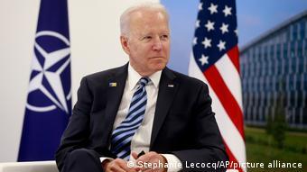 Joe Biden ici à Bruxelles, lors d'un entretien avec Jens Stoltenberg le secrétaire général de l'Otan (Bruxelles, 14.06.2021)