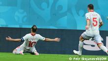 (c) Petr Stojanovski/DW Goran Pandev feiert sein Tor gegen Österreich. Bukarest, 13.06.2021
