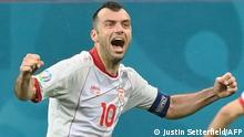 North Macedonia's forward Goran Pandev celebrates after scoring a goal during the UEFA EURO 2020 Group C football match between Austria and North Macedonia at the National Arena in Bucharest on June 13, 2021. (Photo by Justin Setterfield / POOL / AFP)