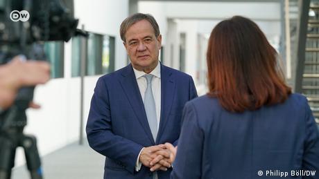 State premier of North Rhine-Westphalia Armin Laschet in interview with DW Editor-in-chief Manuela Kasper-Claridge