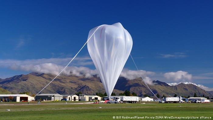 The NASA super pressure balloon fully inflated and preparing for launch at Wanaka Aerodrome