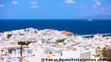 Mykonos (Chora) in Greece. Panoramic view, greek landscape
