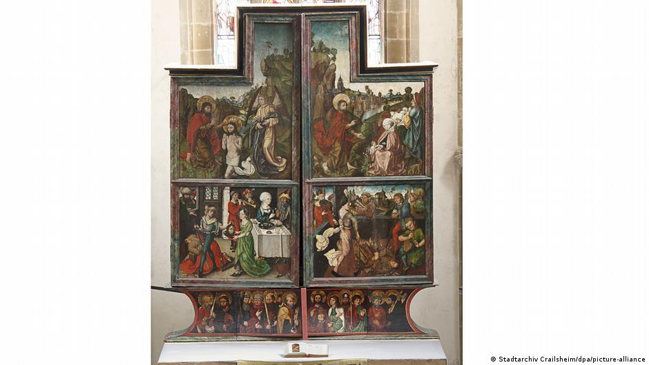 Altar with a medieval religious painting, possibly by Dürer.