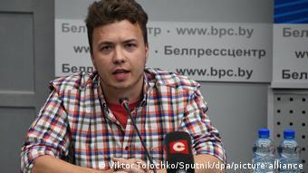 Роман Протасевич на брифинге в Минске 14 июня