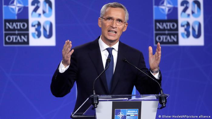 Brüssel NATO Gipfeltreffen   Stoltenberg Rede