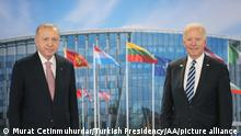 BRUSSELS, BELGIUM - JUNE 14: (----EDITORIAL USE ONLY – MANDATORY CREDIT - TURKISH PRESIDENCY / MURAT CETINMUHURDAR / HANDOUT - NO MARKETING NO ADVERTISING CAMPAIGNS - DISTRIBUTED AS A SERVICE TO CLIENTS----) Turkish President Recep Tayyip Erdogan (L) and US President Joe Biden (R) pose for a photo during a meeting at the NATO summit at the North Atlantic Treaty Organization (NATO) headquarters in Brussels, on June 14, 2021. Turkish Presidency / Murat Cetinmuhurdar / Handout / Anadolu Agency