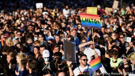 An LGBTQ+ demonstration in Budapest