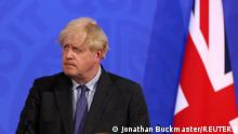 British Prime Minister Boris Johnson holds a news conference for England's COVID-19 lockdown easing announcement in London, Britain June 14, 2021. Jonathan Buckmaster/Pool via REUTERS