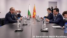 Der mazedonische Premierminister Zoran Zaev mit dem bulgarischen Präsidenten Rumen Radev in Brüssel - Bilaterales Treffen am Rande des NATO-Gipfels (14.06.2021) Copyright: Government North Macedonia