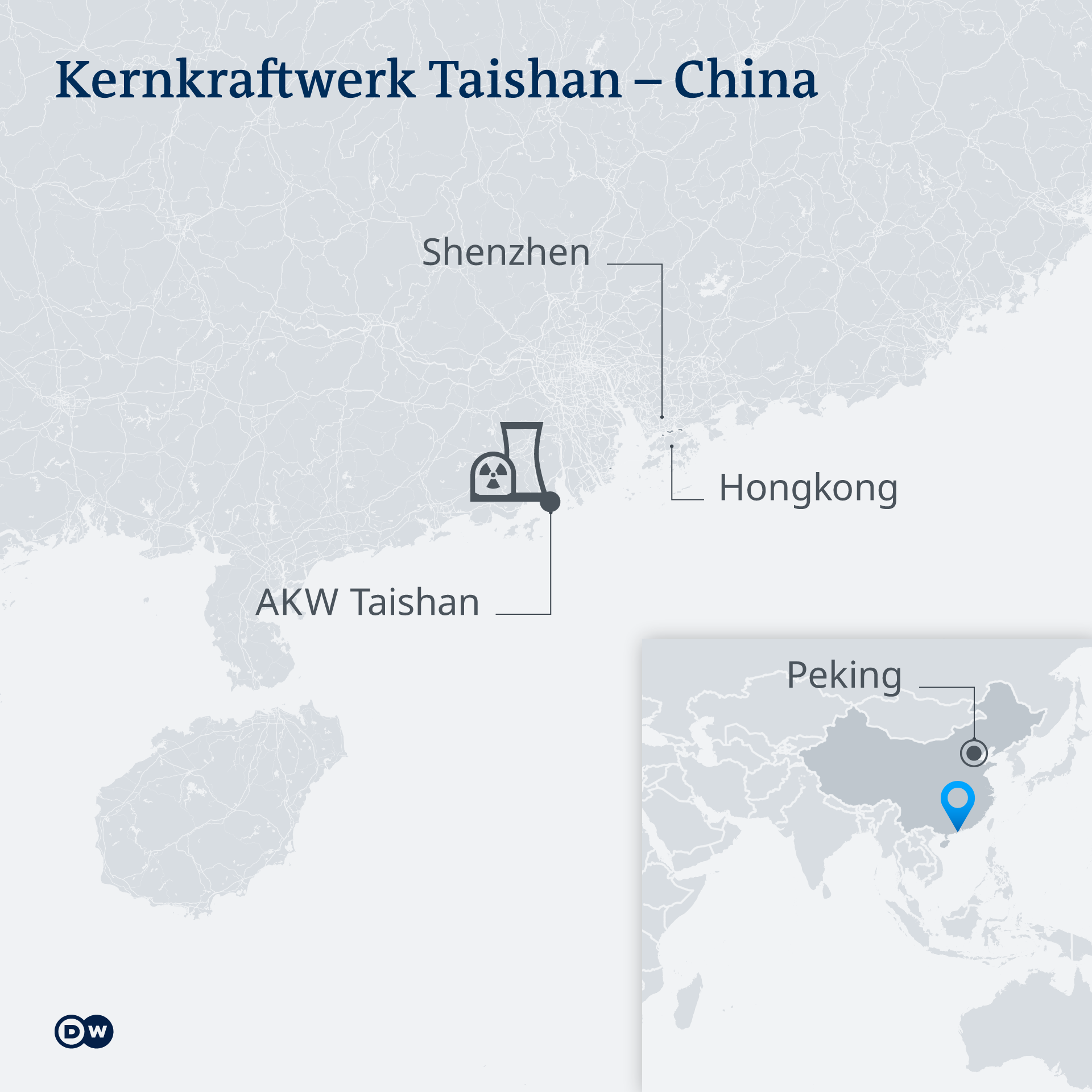 Karte: Standort des Kernkraftwerks in Taishan, China