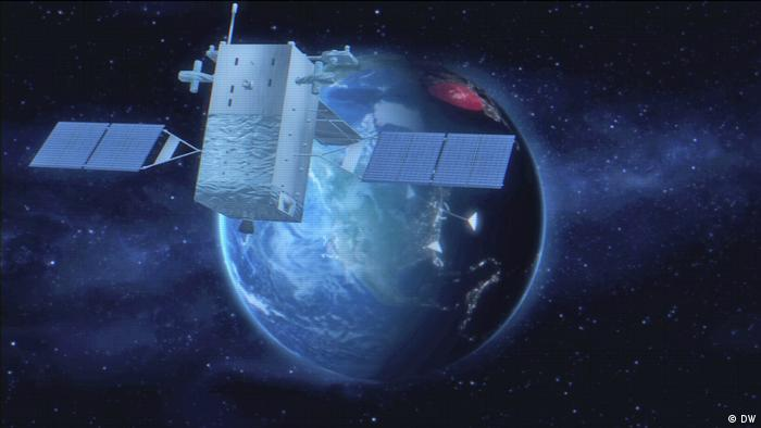 A rendering of the US nuclear command and control system with a satellite in space
