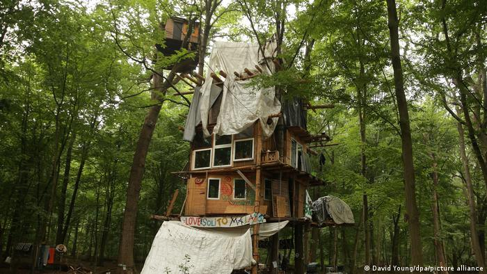 A treehouse with windows and tarps in the forest