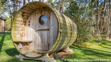 A tiny house shaped like a barrel