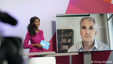 Timothy Snyder on a screen during the Global Media Forum