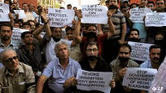 Kashmiri journalists, who are often monitored, protest against the government in Srinagar in 2010