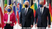 Belgien Brüssel | USA EU Treffen | Ursula von der Leyen, Joe Biden und Charles Michel