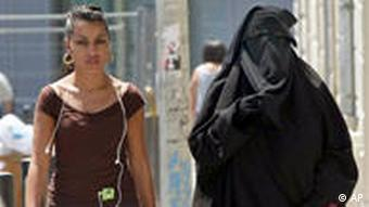 two women, one with a niqab