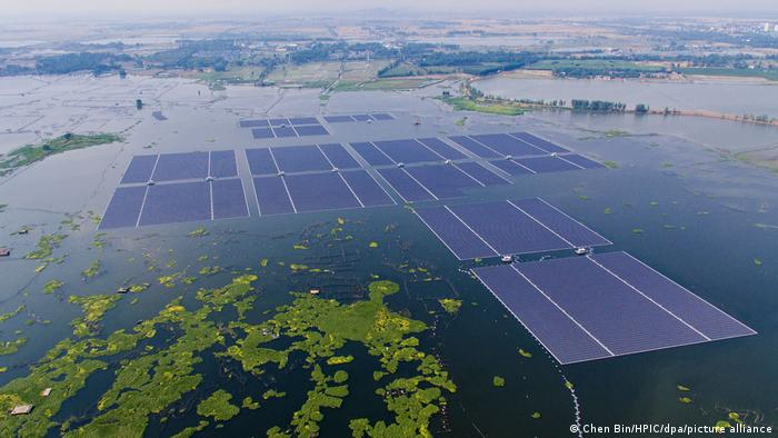 A large installation of floating solar panels