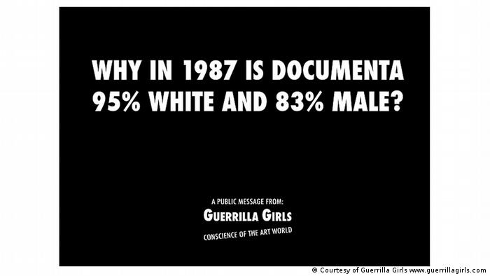 Black poster that reads why in 1987 is documenta 95% white and 83% male?