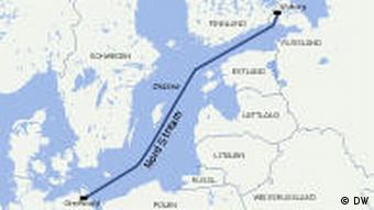 A graphic showing the Nord Stream pipeline running under the Baltic Sea.