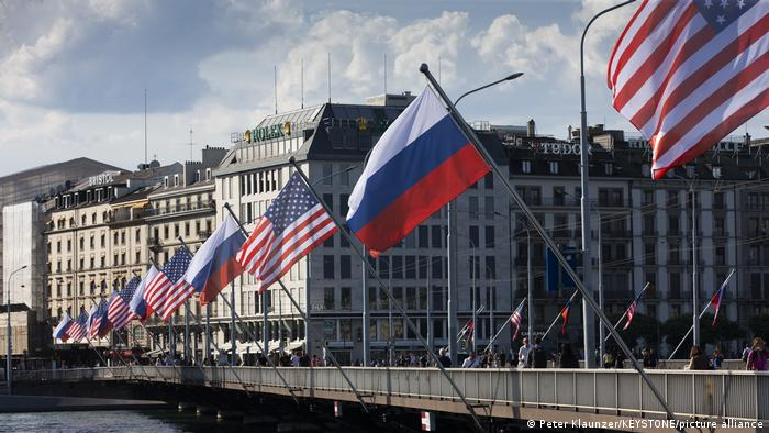 US and Russian flags line a bridge in Geneva, Switzerland