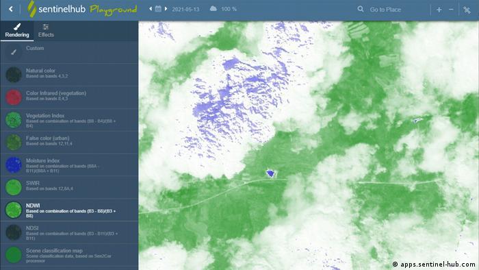 Сателитна снимка от 13.5.2021. На нея се вижда, че язовирът Пазар дере е пълен с вода.