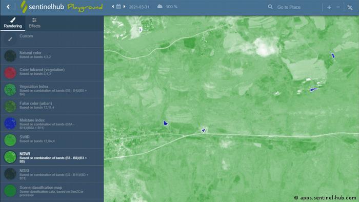 Сателитно изображение от 31.3.2021 година показва липса на вода в язовира