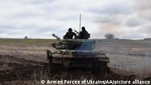 DONBASS, UKRAINE - APRIL 18: (----EDITORIAL USE ONLY – MANDATORY CREDIT - ARMED FORCES OF UKRAINE / HANDOUT - NO MARKETING NO ADVERTISING CAMPAIGNS - DISTRIBUTED AS A SERVICE TO CLIENTS----) Ukrainian army conduct a drill with military tanks while military activity continues in the Donbas region, Ukraine on April 18, 2021. Armed Forces of Ukraine / Anadolu Agency