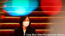 Taiwan President Tsai Ing-wen speaks at the presidential office on Covid outbreak and vaccinations, following a surge of domestic Covid-19 cases and the occurrence of nationwide blackout, in Taipei, Taiwan, on 13 May 2021. (Photo by Ceng Shou Yi/NurPhoto)
