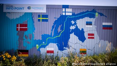A map of the pipeline painted into the side of a shipping container. it also shows surrounding countries.